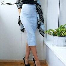 Samuume Sexy de hendidura de Midi de las mujeres falda lápiz elástico cintura  alta Oficina Bodycon 75 cm de largo faldas párr Ta. 0299f78b6cc3