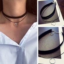 Gothic Lolita Punk Triangle Choker Necklace Black Velvet Steampunk Tattoo Necklaces Torques Jewellery Clavicle Colar Bijoux HOT(China)