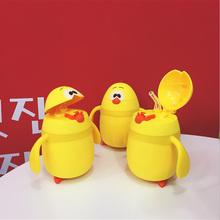 Cartoon Chicken Baby Insulation Bottle Glass Bottle For Water Portable Children Straws Cup Creative Gift 2 Style Drinking Cups