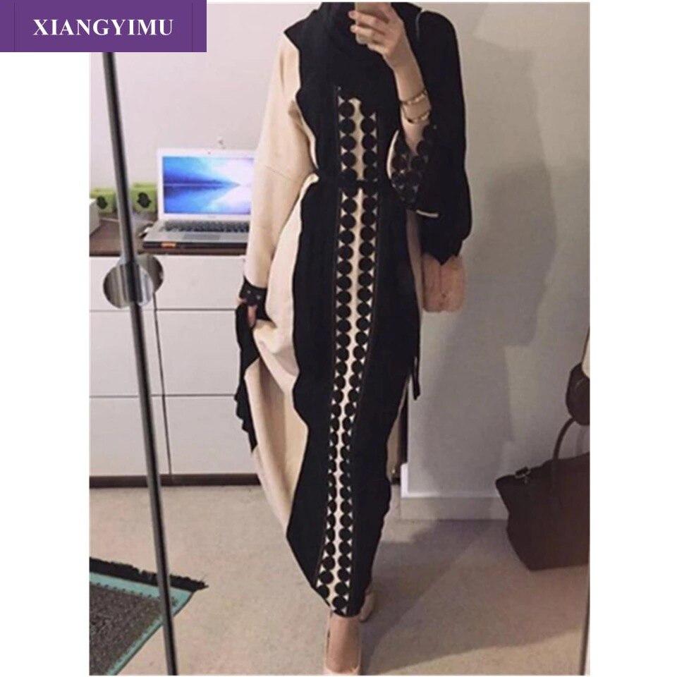 F8849-5 Lace Long Dress Women Arab Ladies Malaysia Abayas Muslim Robes