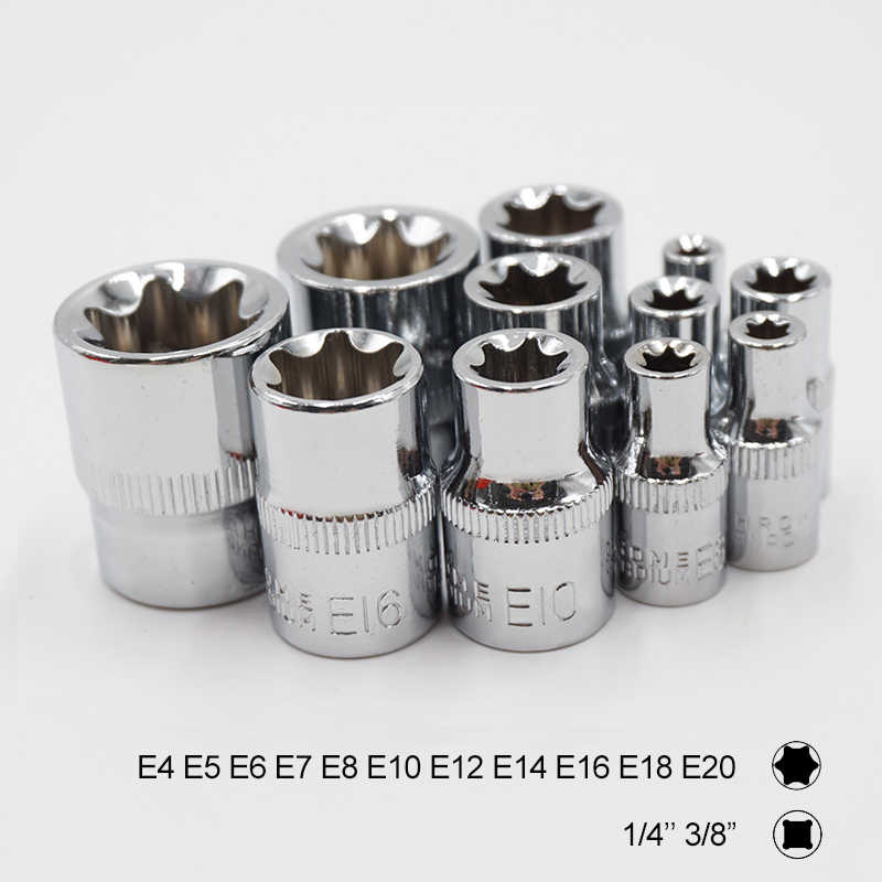 11pcs Torx Star Socket Set 1/4 3/8 Inch Drive e Type Sockets E4 E5 E6 E7 E8 E10 E12 E14 E16 E18 E20 Hand Repair Tools