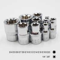 11 stücke Torx Stern Buchse Set 1/4 3/8 Zoll Stick e Typ Steckdosen E4 E5 E6 E7 E8 E10 E12 e14 E16 E18 E20 Hand Reparatur Werkzeuge