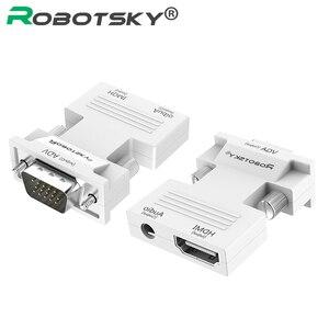 Image 1 - 1080 P HDMI VGA Converter met Audio Adapter Vrouw naar Man Signaal HDMI VGA Audio Transmissie Adapter voor HDTV Projector