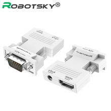 1080P HDMI to VGA Converter with Audio Adapter Female to Male Signal HDMI VGA Audio Transmission Adapter for HDTV Projector