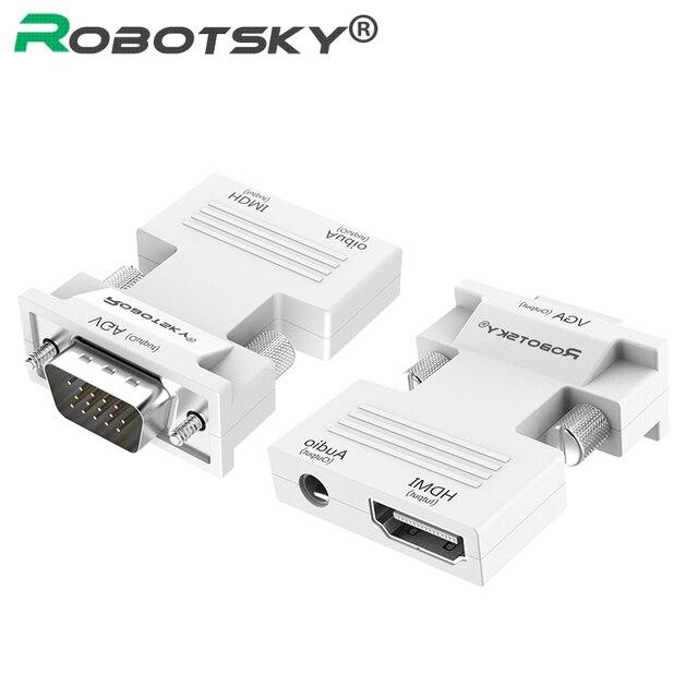 Convertidor de HDMI a VGA de 1080P con Adaptador de Audio adaptador de transmisión de Audio de HDMI VGA de señal hembra a macho para proyector HDTV