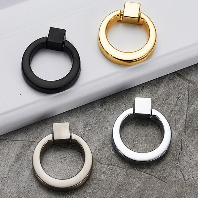 Us 66 46mm 4 Pcscircle Handgrepen Kleur Goud Zilver Zwarte Ring Zinklegering Deurgrepen Pulls Kast Lade Knoppen Voor Meubels Hardware In 46mm 4