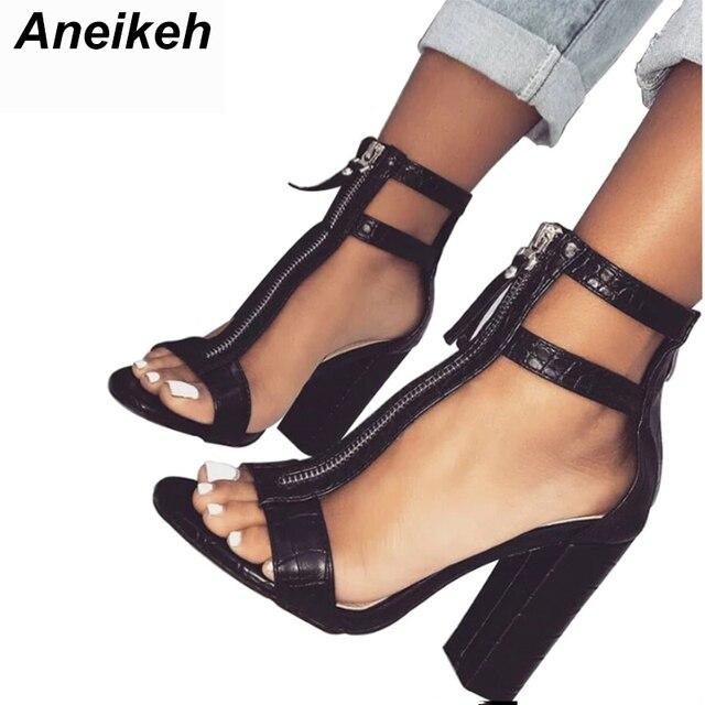 Zapatos Negros De Sexy Tacones Sandalias Mujer Punta Aneikeh Altos yfb7g6