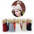 2017 de La Moda para adultos Tienda de Sombreros pompón de lana De Imitación de Piel de Piel de Invierno Cap 25 cm Natural Sombrero adulto