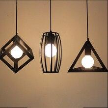 Luces colgantes Vintage lámpara LED metal cubo jaula pantalla iluminación colgante lámpara con bombilla LED