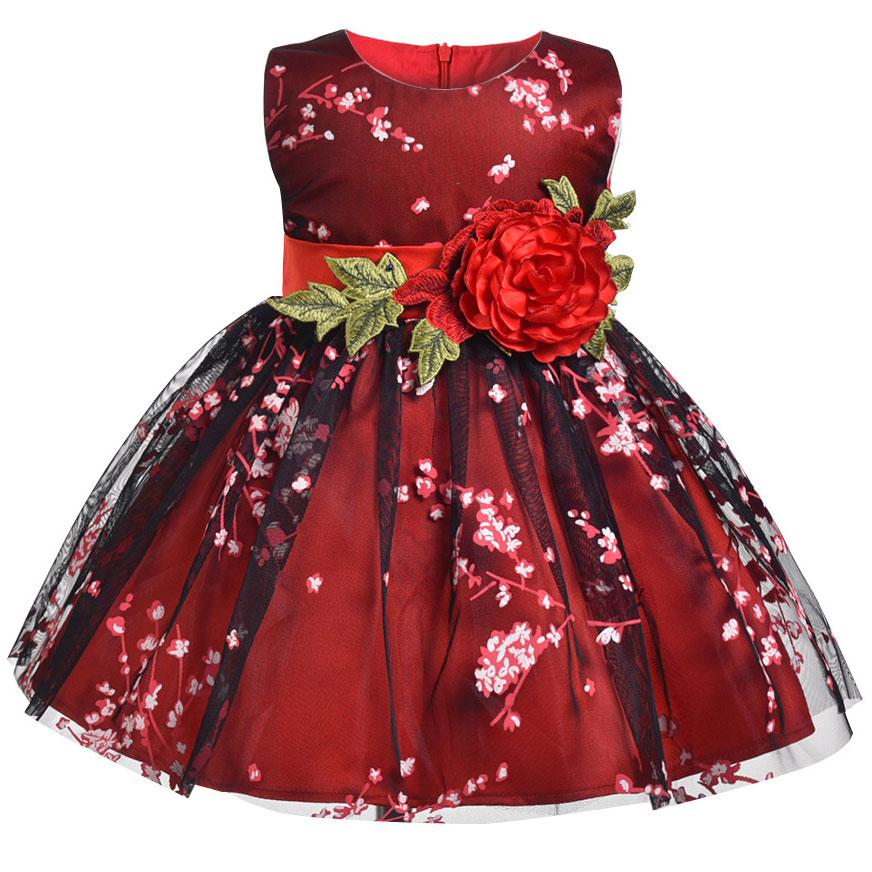 Baby Girls Flower Party Dress Infant Girl's Christmas Wedding Elegant Vestidos Costume Children Clothing Kids Dresses Clothes