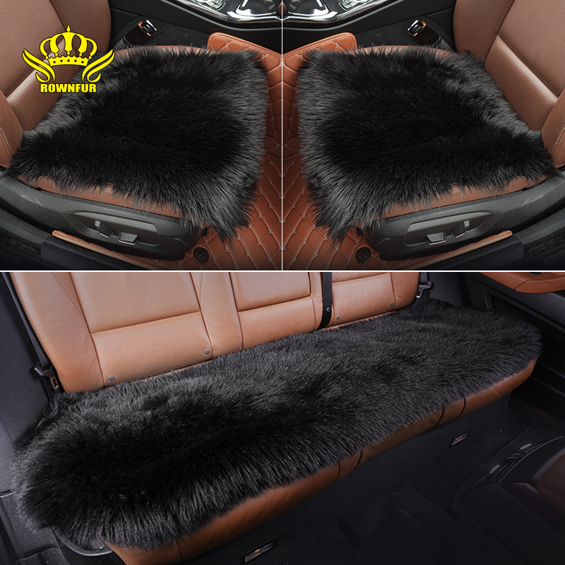 ROWNFUR Square Universal Car Seat Covers Long Artificial Plush Automobiles Seat Covers Protector Seat Auto Accessories Seat Mats