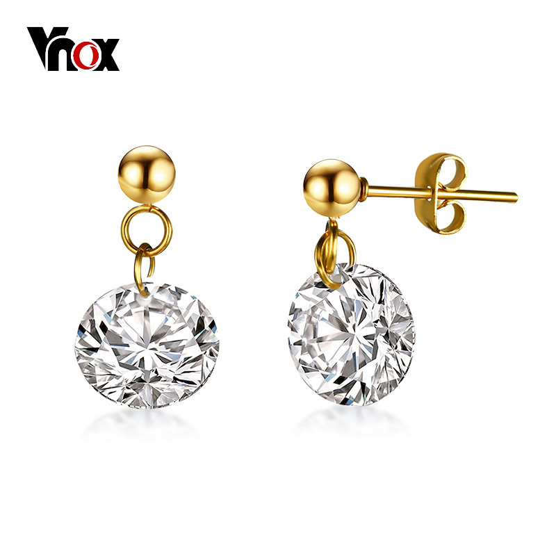 Vnox Well Cut AAA CZ Stone Elegant Stud Earrings for Women Gold Color Stainless Steel Pin Female Girl Classic Jewelry