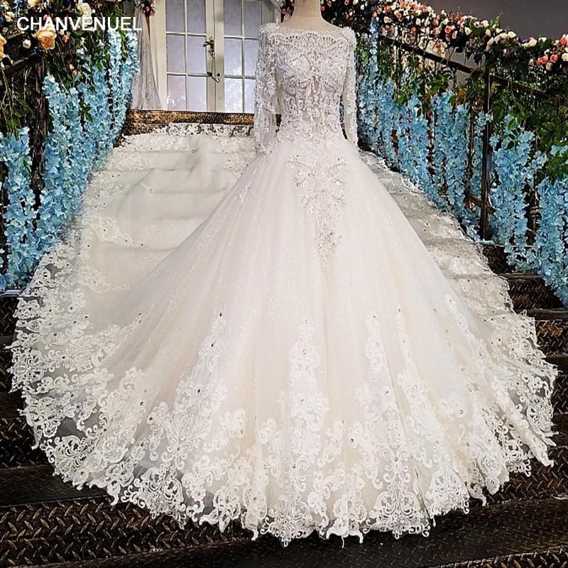 LS00213 vestido de noiva casamento backless appliques 3/4 mouwen kant - Trouwjurken - Foto 1