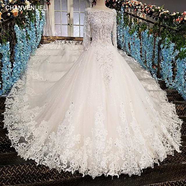 LS00213 vestido de noiva casamento backless appliques 3/4 sleeves lace ball gown beading lace Luxury wedding dresses real photos
