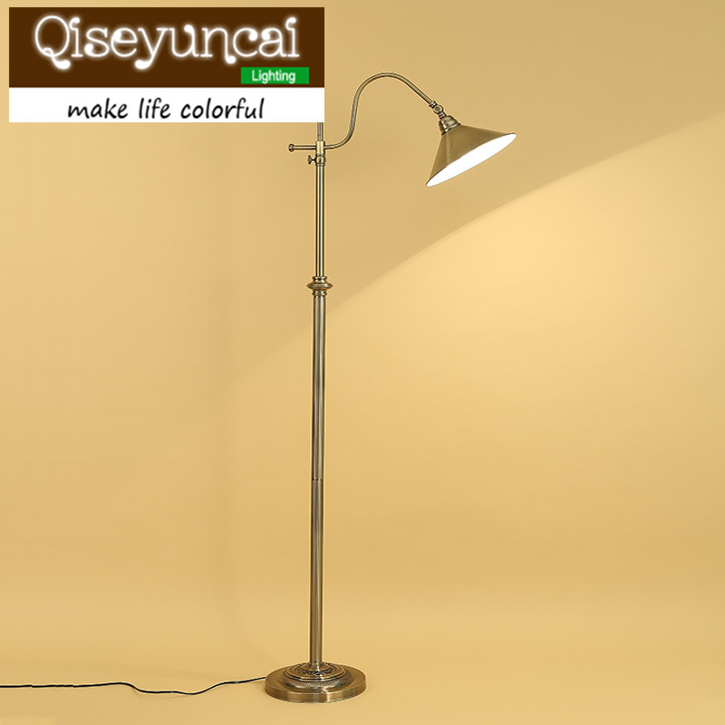 Qiseyuncai American country living room press type floor lamp and Table lamp study room mahjong fishing floor lamp