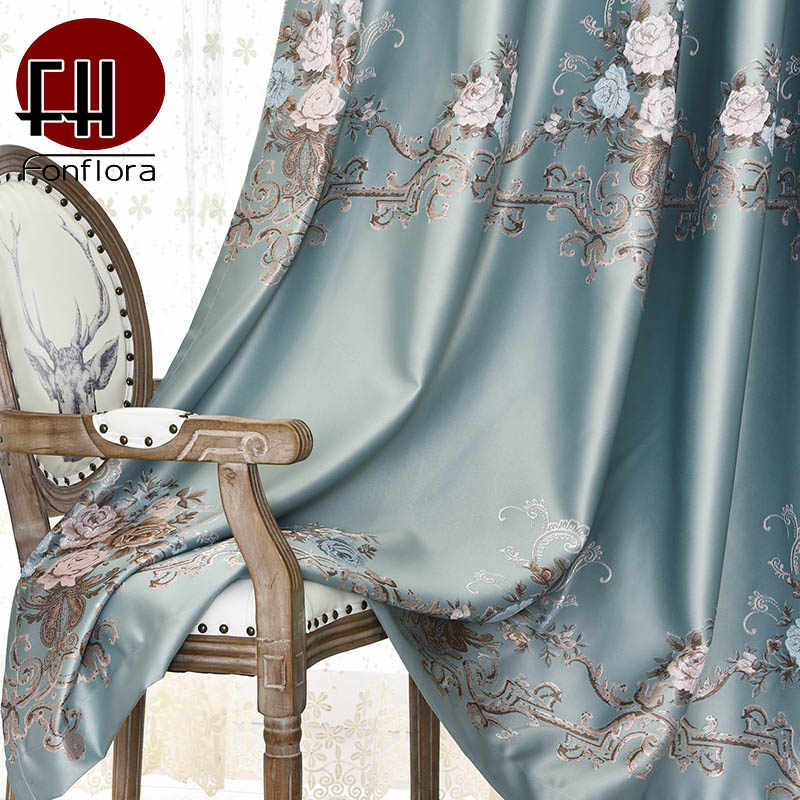 High Precision Silk Jacquard Blackout Curtains For Living Room Bedroom Modern Door Window Curtains Treatment Custom Size Panel