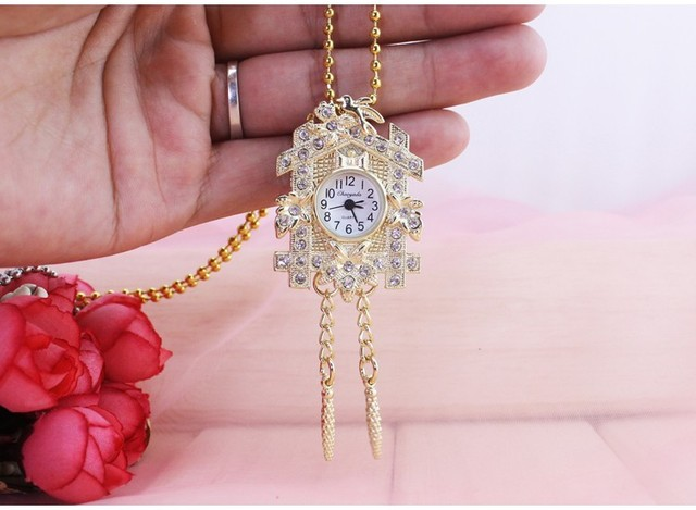chaoyada Hot sale Fashion Bronze antiques House design Pocket watch necklace flowers girl pocket watch