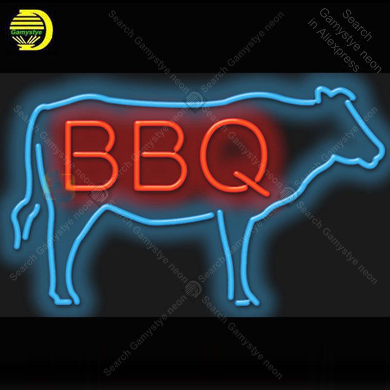 BBQ with Cow Neon Light Sign Glass Tube Neon Bulbs Decor Room Hotel Neon board Sign lamps accessories anuncio luminoso AtariiBBQ with Cow Neon Light Sign Glass Tube Neon Bulbs Decor Room Hotel Neon board Sign lamps accessories anuncio luminoso Atarii