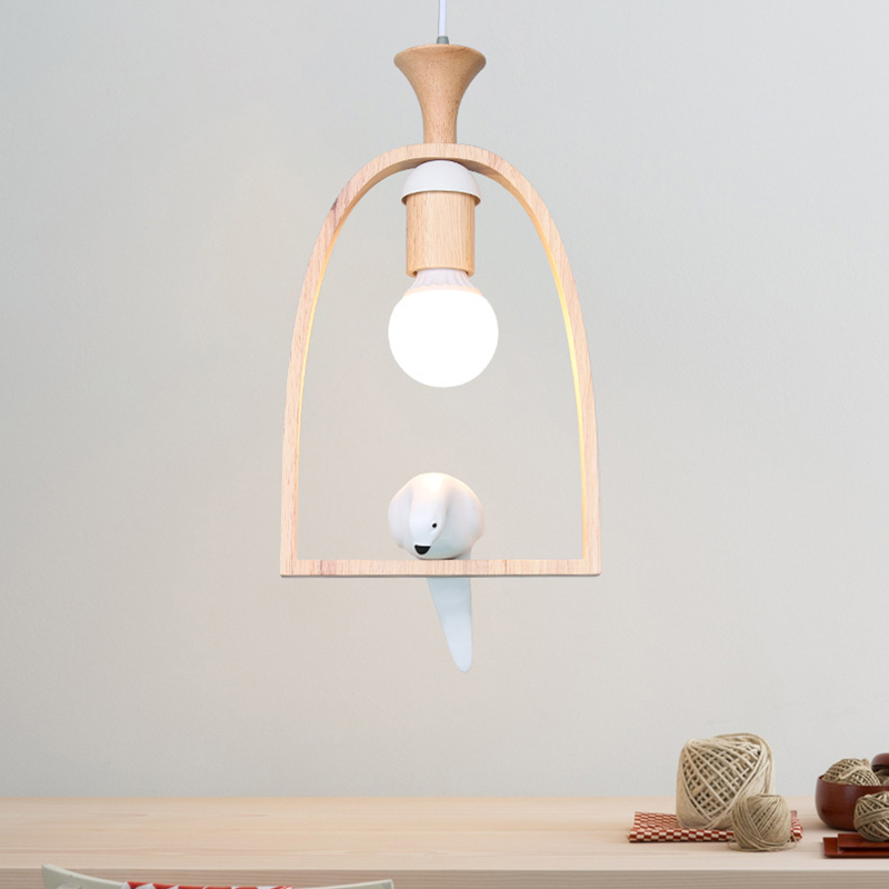 все цены на Europe resin bird wood pendant lamp personality creative warm romantic logs pendant light courtyard balcony restaurant lamp онлайн