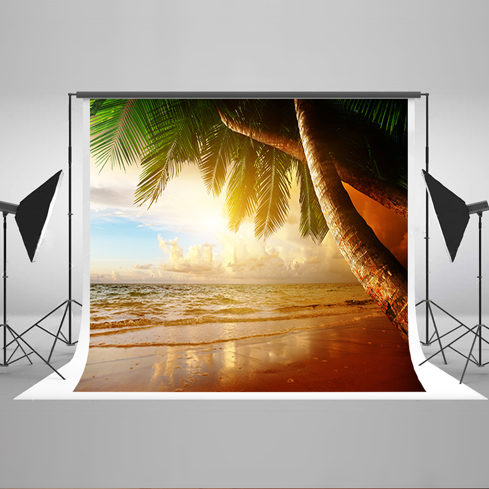Wedding Photography Backdrops Sky White Cloud Coconut Tree Computer Printing Background Sea Wave Beach Photo Backdrops Vinyl blue sky white clouds beach coconut tree backdrops fotografia fundo fotografico natal background photograph