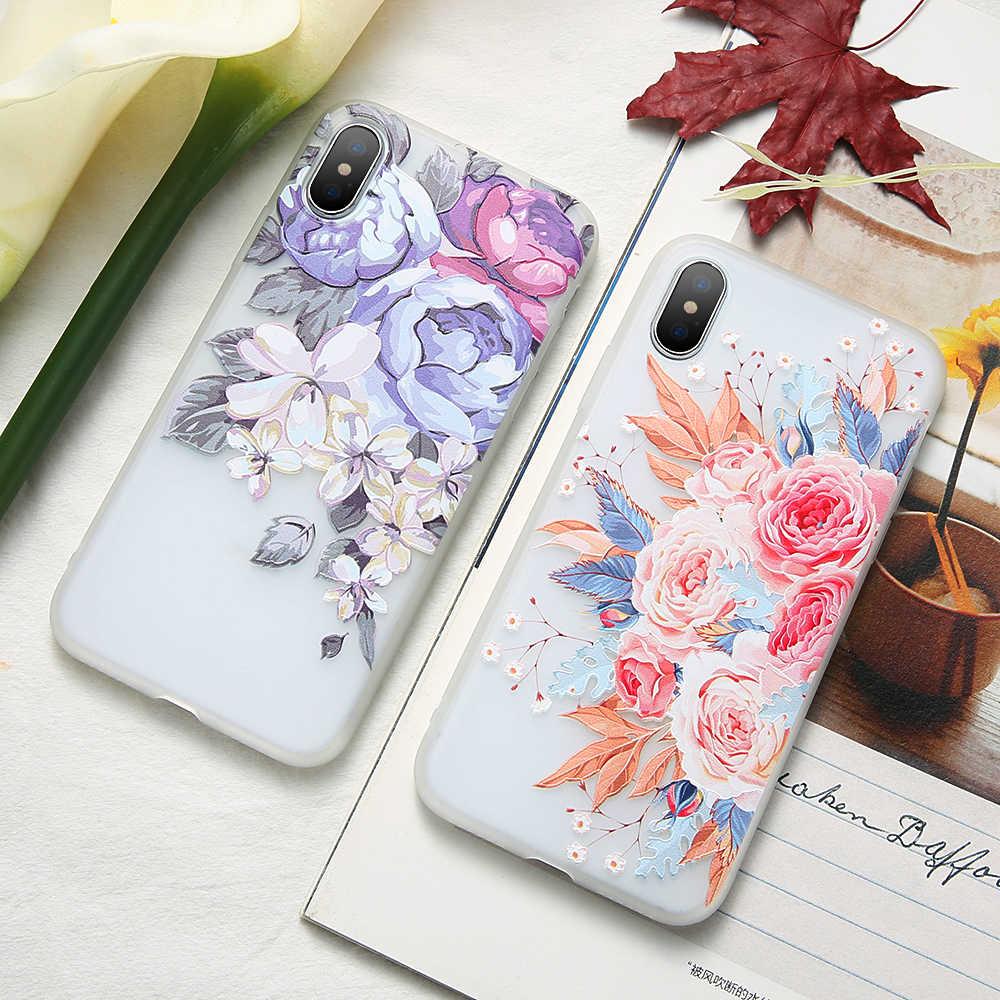 Kisscase caso para o iphone x 8 mais 3d alívio macio flores de flor silicone caso para iphone 5 5S 6 s 7 8 plus x capa fundas