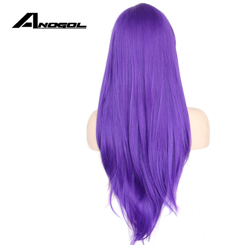 Anogol High Temperature Fiber Perruque Frontal Wigs Long Natural Wave Purple Synthetic Lace Front Wig For Drag Queen Cosplay