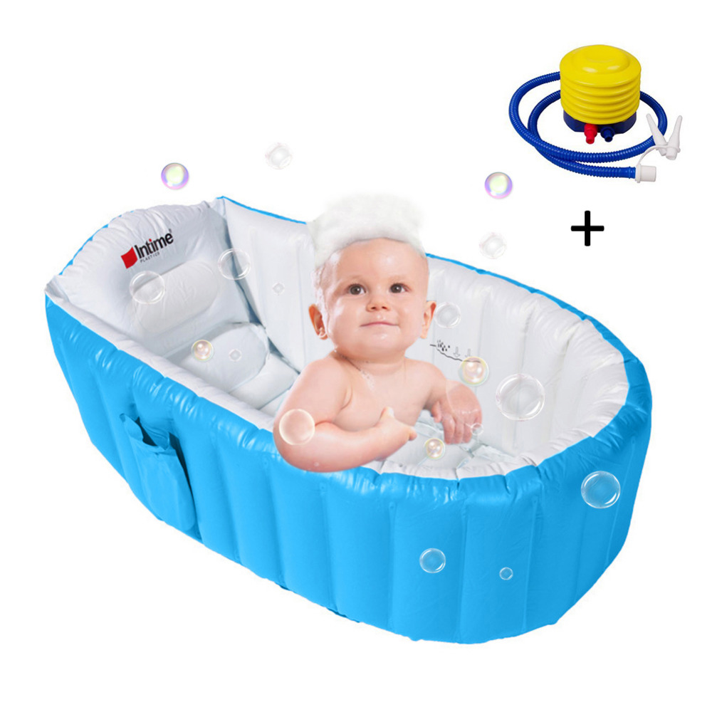 Kids Baby Bathtub Inflatable Bathing Tub Air Swimming Pool Portable Thick Foldable Shower Basin Send Soft Cushion &Inflator Pump