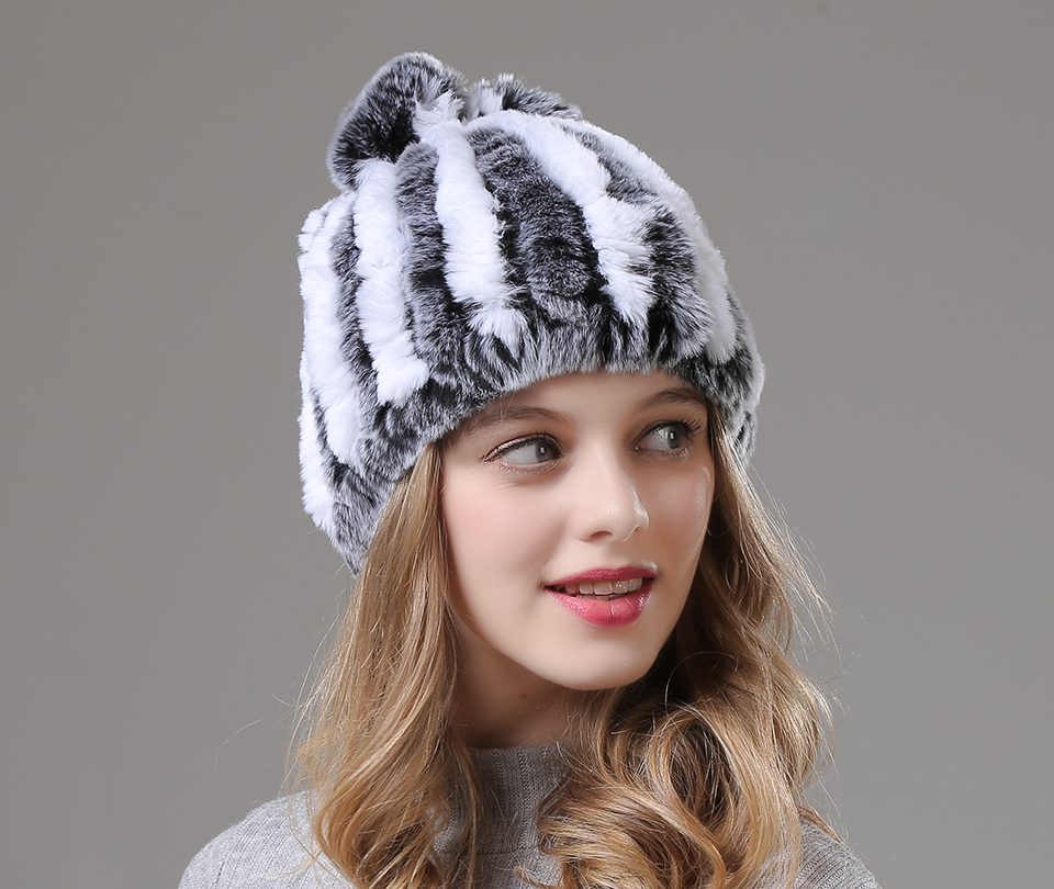 Womens Winter Hats Scarf Knitted Real Rabbit Fur Hat Natural fur Neck Scarf Girls Winter Warm Hat Beanies (13)