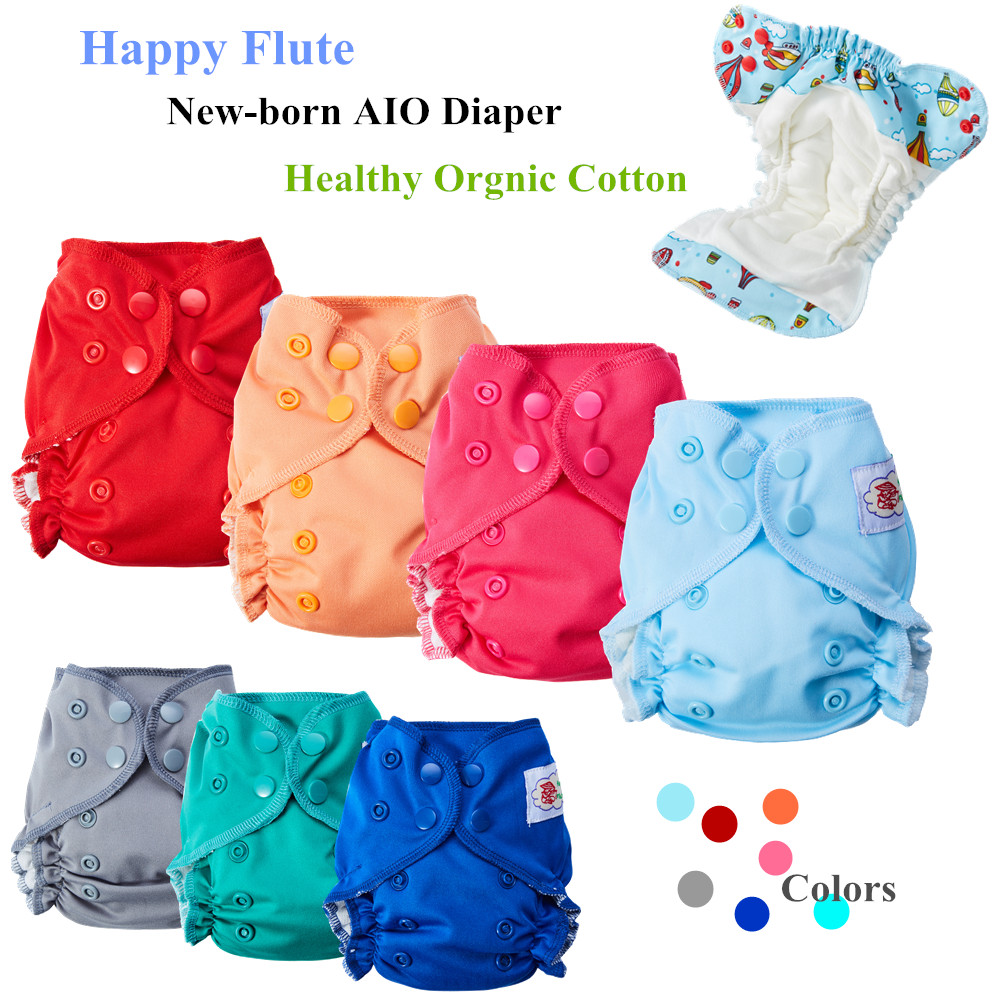 10Pcs Happy Flute Organic Cotton Newborn Baby Diapers Tiny AIO Cloth Diaper, Double Gussets Breathable Reusable Fit 3-6KG Baby