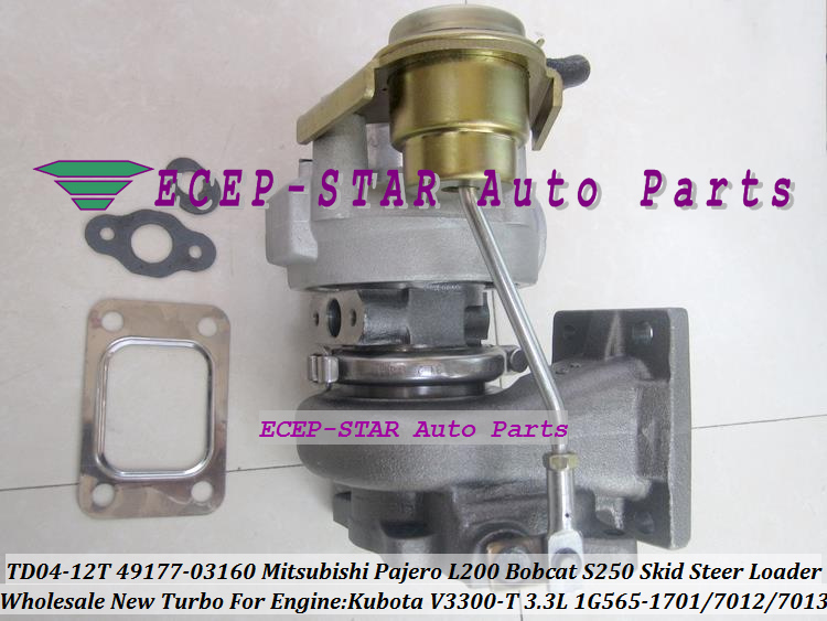 TD04-12T 49177-03160 1G565-1701 Turbo Turbocharger For Mitsubishi Pajero L200 Bobcat S250 Skid Steer Loader Kubota V3300-T 3.3L (1)