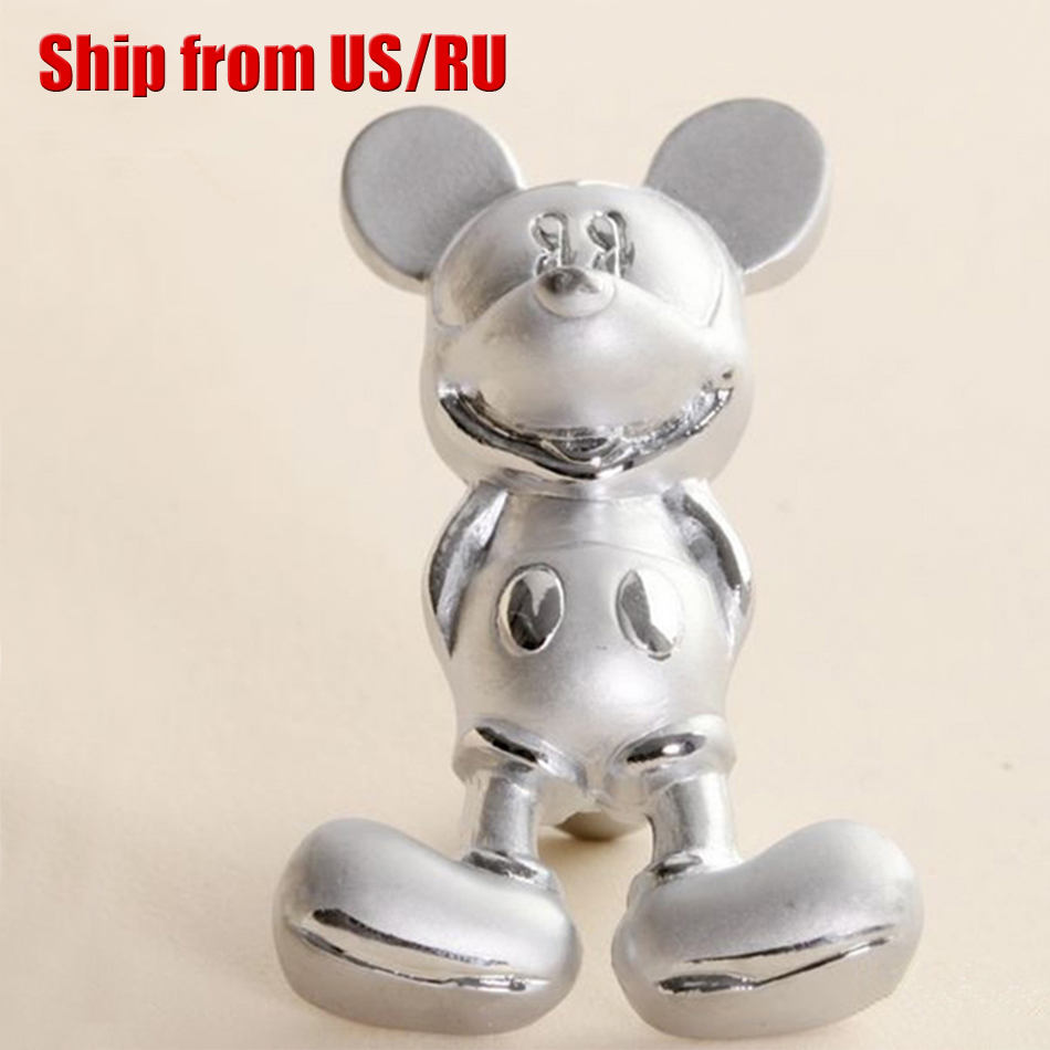 Cartoon Silver Mickey Mouse Furniture Handle Knobs Kids
