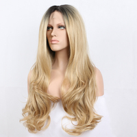Fantasy Beauty Fashion Ombre Blonde Glueless Lace Front Wigs 2 Tone Color Light Brown Side Part Long synthetic lace front wig