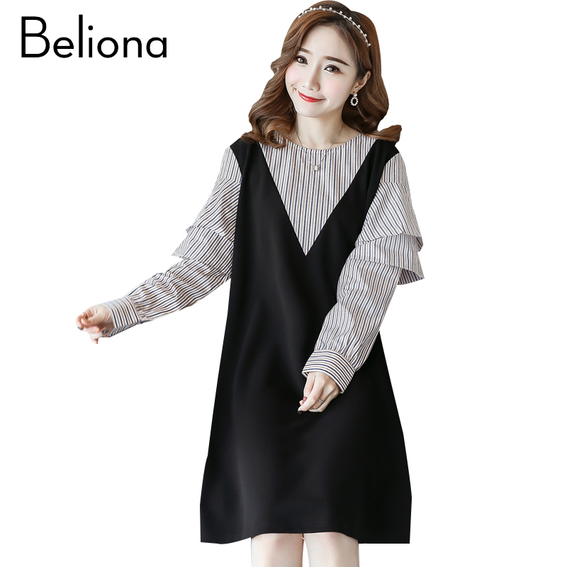 False Two Pieces Maternity Dress Bohemian Pregnancy Clothes Cotton Loose Long Sleeve Pregnancy Clothing Of Pregnant Women 2018