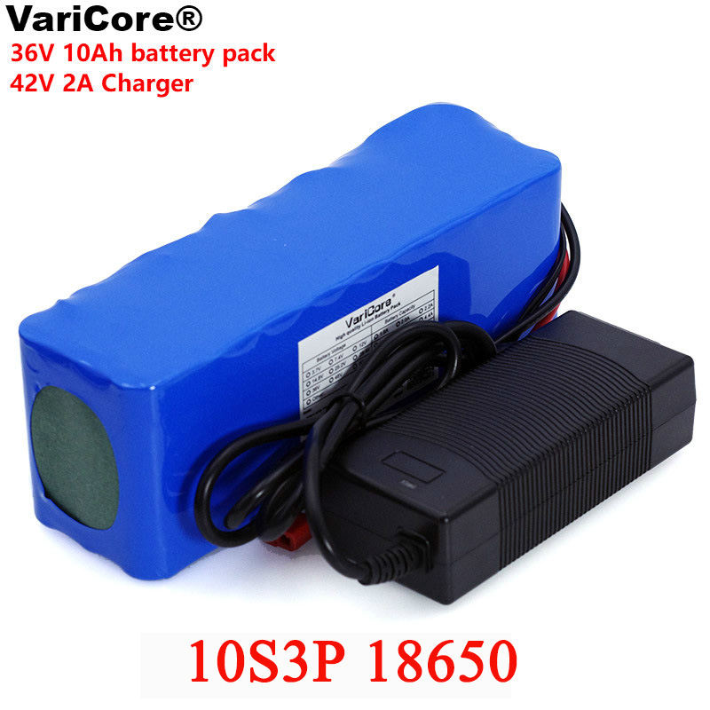 VariCore 36V 10000mAh 500W High Power 42V 18650 Lithium Battery Motorcycle Electric Car Bicycle Scooter with BMS + 2A Charger