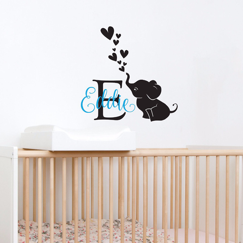 Vinyl Art Wall Decals Elephant Custom Personalized Name Monogram First Name Wall Sticker Boys Girls Home Decor Poster MuralW324 in Wall Stickers from Home Garden