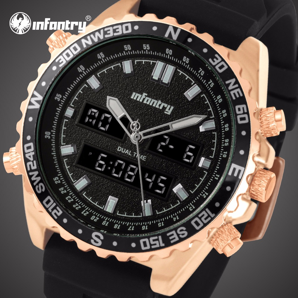 цена на INFANTRY Mens Watches Top Brand Luxury Military Watch Men Analog Digital Watch for Men Pilot Army Tactical Big Relogio Masculino