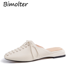 купить Bimolter Women Lace Up Mules Female Fashion Casual Loafers Flats Slippers Shoes For Summer Outside Footwear White Shoes FC028 по цене 5038.14 рублей