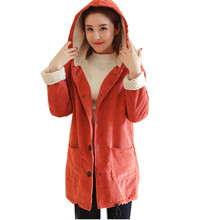 Pengpious pregnant women 2017 winter corduroy jacket thickening hooded cotton-padded clothes maternity casual outwear with hats(China)