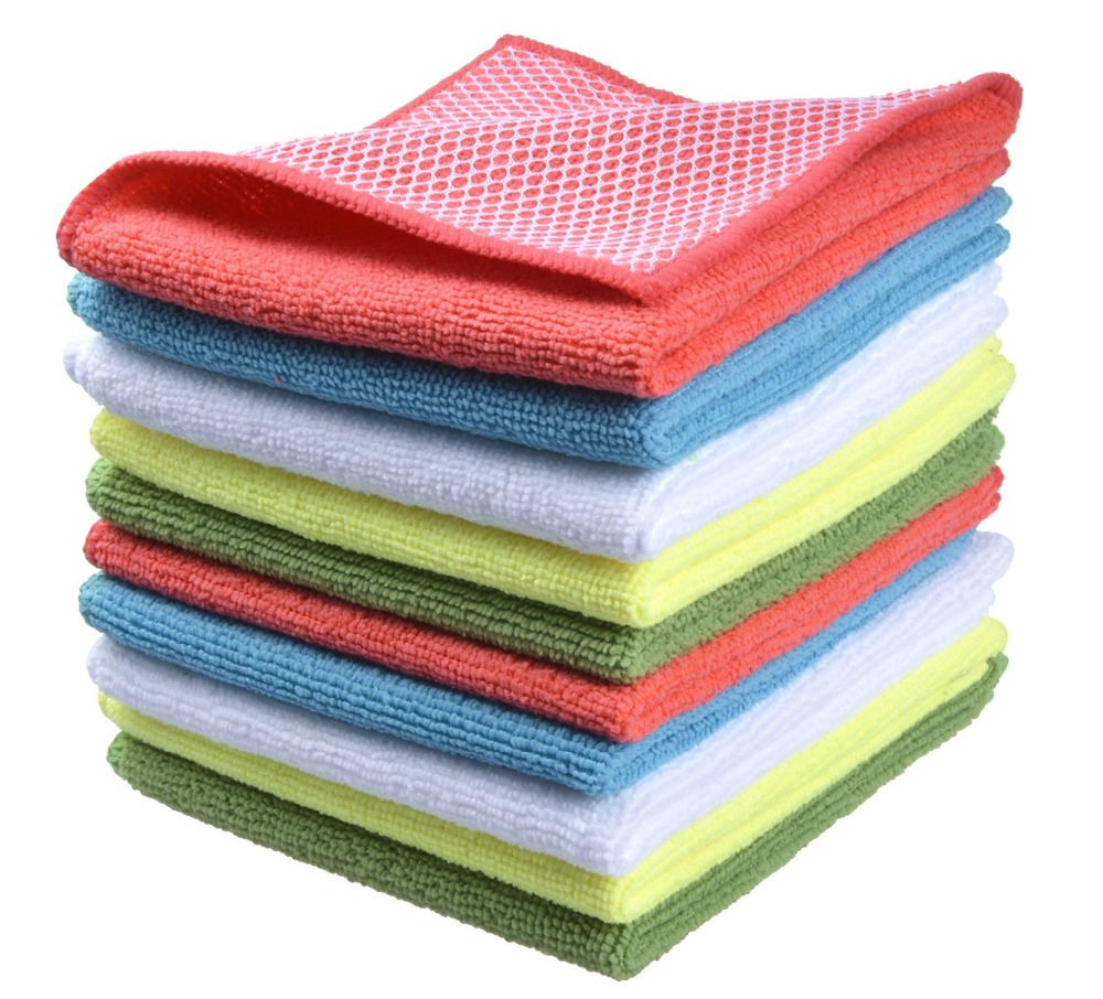 Superior Sinland 10pcs Microfiber 12 By 12 Inch Kitchen Dish Cloth With Poly Scour  Side Kitchen Dish Towels Cleaning Rag   Assorted Color