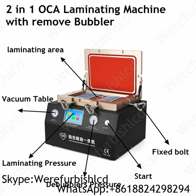 2 in 1 Vacuum OCA Laminating Machine with remove Bubbler Built-in Pump and Compressor Support Max 12inch LCD Repair parts
