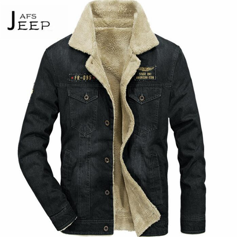 AFS JEEP High Quality Winter Man's Thickness Turn Down Cotton Denim Coat,Cashmere Inner Moto & Biker hombres abrigos black 12pcsx clear crystal glass door knobs drawer cabinet furniture pull handles 2color