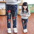 Calças de brim Para Meninas Pontos de Algodão Casual Crianças Roupas Dos Desenhos Animados Crianças calças de Brim Para A Primavera Meninas Moda Roupas de Bebê Para Meninas 4-12