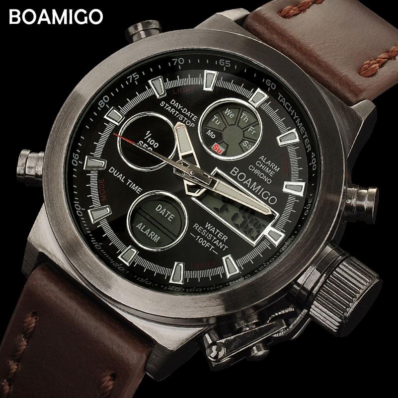 BOAMIGO männer sportuhren braun leder band mann militär quarz LED digital analog casual armbanduhren wasserdicht reloj hombre