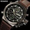 BOAMIGO мужские спортивные часы коричневый кожаный ремешок мужские военные кварцевые Светодиодные цифровые аналоговые повседневные наручные...