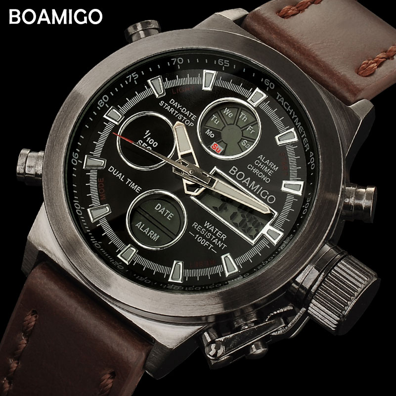 BOAMIGO heren sport horloges bruin lederen band man militaire quartz LED digitale analoge casual horloges waterdicht reloj hombre