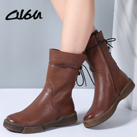 O16U Women Ankle Boots Shoes Genuine Leather Vintage Zip Ladies Motorcycle Boots Felt Boots Female Snow