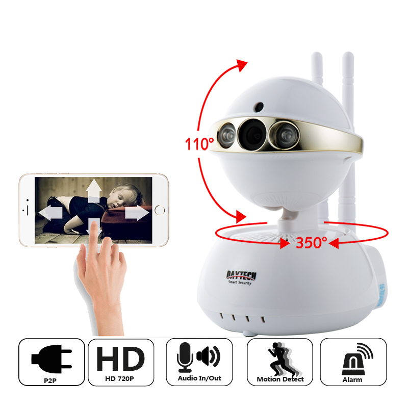 DAYTECH Wireless IP Camera WiFi 720P Network Baby Monitor Surveillance Security Camera CCTV Indoor IR-Cut Two Way Audio Pan Tilt wireless security camera wifi two way audio network baby monitor hd cctv camera 720p indoor home surveillance cam gas detector