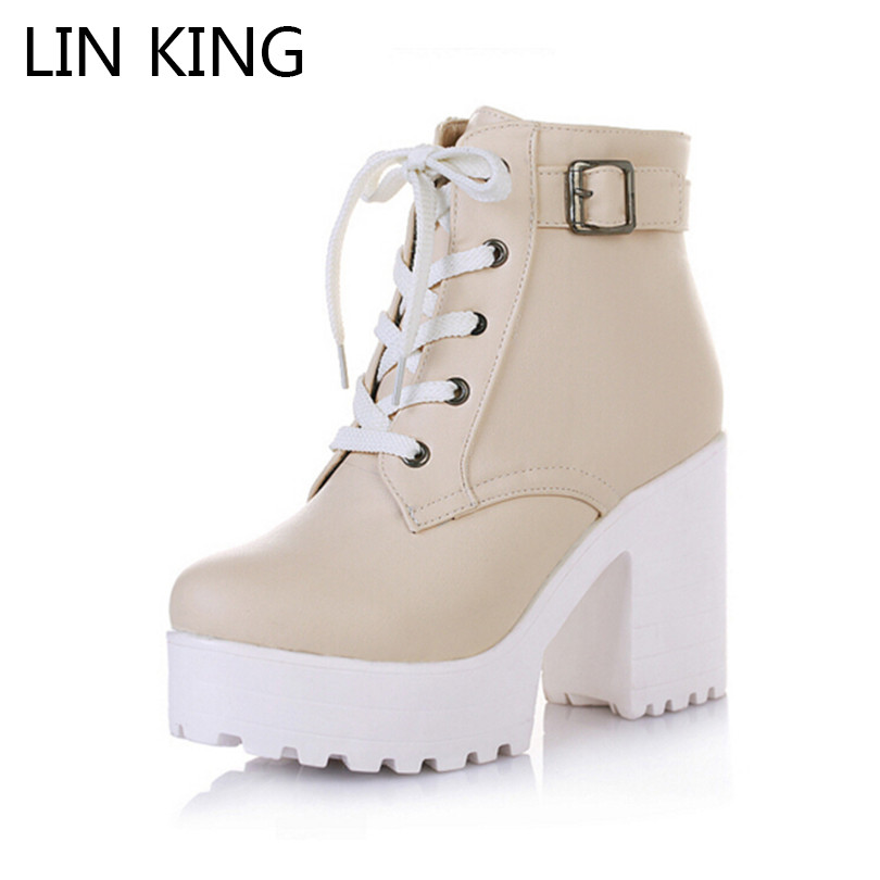 LIN KING Vintage Buckle Thick Heel Short Boots Square Heel Women Platform Ankle Boots Fashion Pu Lace Up Martin Boots Big Size мыло жидкое алоэ 500 мл
