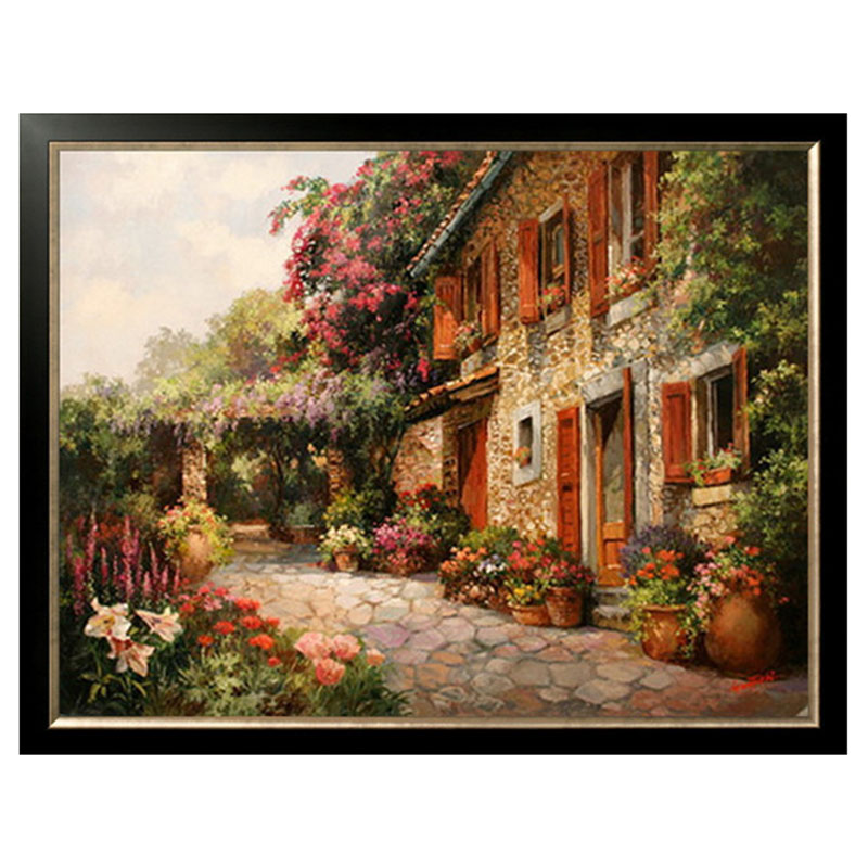 Golden panno,Needlework,DIY DMC Cross stitch,Set For Embroidery kit 14ct unprinted cotton thread House Cottage Cross Stitching-in Package from Home & Garden    1