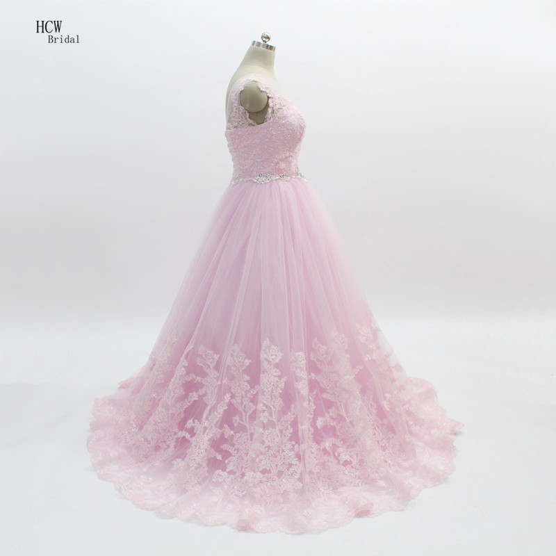 Pink Dresses Prom 2018 Graceful Lace Top Puffy Tulle Beaded Waist ...